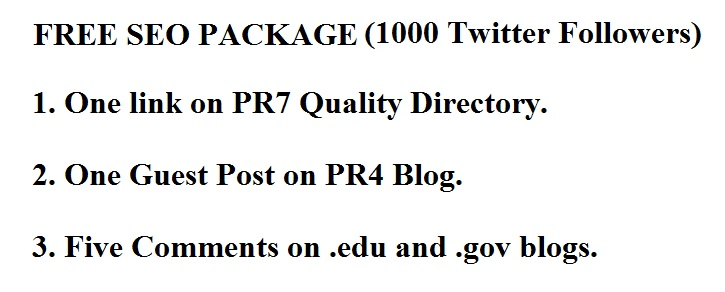 Free seo package for 1000 Twitter Followers